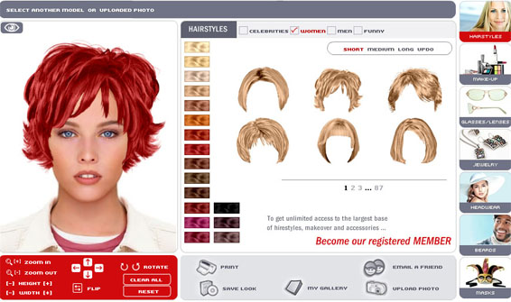 site where you can try on different virtual hairstyles and makeup.